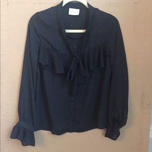 NWOT ModCloth brand Moon Black Ruffle blouse L.